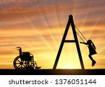 silhouette of a child disabled... | Shutterstock . vector #1376051144