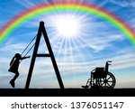 silhouette of a child disabled... | Shutterstock . vector #1376051147