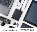 top view of office desk table...   Shutterstock . vector #1376062961