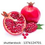 pomegranate isolated on white... | Shutterstock . vector #1376124701
