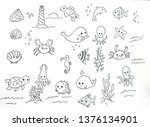 sea life  ocean trip summer... | Shutterstock . vector #1376134901