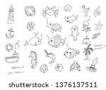 sea life  ocean trip summer... | Shutterstock . vector #1376137511