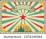 old shabby american circus... | Shutterstock .eps vector #1376140364