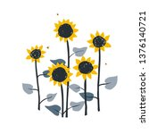 doodle floral illustration with ... | Shutterstock .eps vector #1376140721