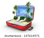 open baggage  vacation concept | Shutterstock . vector #137614571