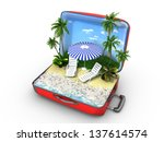 open baggage  vacation concept | Shutterstock . vector #137614574