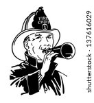 fireman with bullhorn   retro...