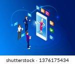 vector isometric illustration.... | Shutterstock .eps vector #1376175434