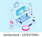 isometric concept. social media ... | Shutterstock .eps vector #1376175461