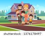 family house. happy young... | Shutterstock .eps vector #1376178497