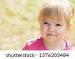 little cute girl in a pink...   Shutterstock . vector #1376203484