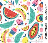 seamless pattern with fruit and ... | Shutterstock .eps vector #1376209274