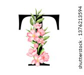 alphabet. letter t  monogram... | Shutterstock . vector #1376213594