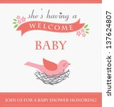 she's having a baby card design.... | Shutterstock .eps vector #137624807