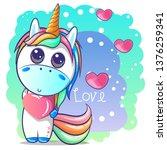 cute cartoon unicorn with heart.... | Shutterstock .eps vector #1376259341