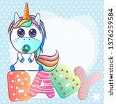 cute baby shower unicorn... | Shutterstock .eps vector #1376259584