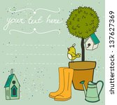 card template with potted tree  ... | Shutterstock .eps vector #137627369