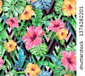 tropic vivid patten on a black. ... | Shutterstock . vector #1376282201