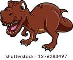 tyrannosaurus ready to attack | Shutterstock .eps vector #1376283497