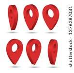 red pointers isometric. markers.   Shutterstock .eps vector #1376287031