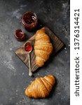 french croissant. freshly baked ... | Shutterstock . vector #1376314421