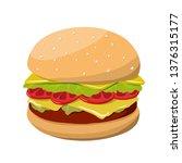 hamburger vector illustration.... | Shutterstock .eps vector #1376315177