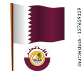 qatar wavy flag and coat of arm ... | Shutterstock .eps vector #137639129