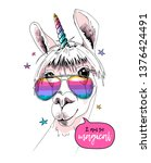fun llama in a unicorn mask ... | Shutterstock .eps vector #1376424491
