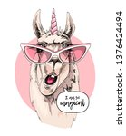 fun llama in a pink glasses ... | Shutterstock .eps vector #1376424494