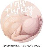 raw turkey in cartoon style.... | Shutterstock .eps vector #1376434937