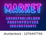 neon light alphabet ... | Shutterstock .eps vector #1376447744