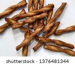 salty  pretzel twists against a ...   Shutterstock . vector #1376481344