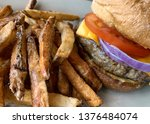 cheese burger with french fries ...   Shutterstock . vector #1376484074