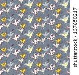 birds as flowers. seamless... | Shutterstock .eps vector #137650217