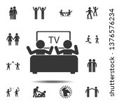 watching tv with a friend icon. ...