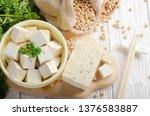 soy bean curd tofu in clay bowl ... | Shutterstock . vector #1376583887