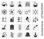 chemistry icons set on squares... | Shutterstock .eps vector #1376635094