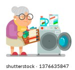 old woman lady wash dirty... | Shutterstock .eps vector #1376635847