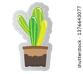 dotted sticker of a cactus.... | Shutterstock .eps vector #1376643077