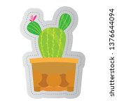 dotted sticker of a cactus.... | Shutterstock .eps vector #1376644094