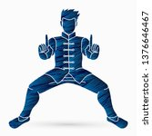 man kung fu action ready to... | Shutterstock .eps vector #1376646467