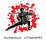 man with sword action  kung fu... | Shutterstock .eps vector #1376646491
