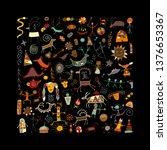 rock paintings background ... | Shutterstock .eps vector #1376653367