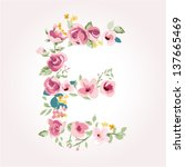 vector flower font capital e | Shutterstock .eps vector #137665469