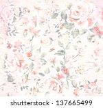 grunge vintage flower pattern... | Shutterstock . vector #137665499