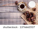 milk and dates fruit. muslim... | Shutterstock . vector #1376663537
