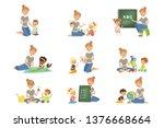 cute little boys and girls... | Shutterstock .eps vector #1376668664