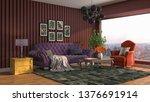 interior of the living room. 3d ... | Shutterstock . vector #1376691914