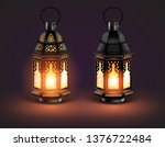 two glowing eastern lamps with...   Shutterstock .eps vector #1376722484
