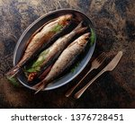 Stock photo smoked baltic herring with dill top view 1376728451